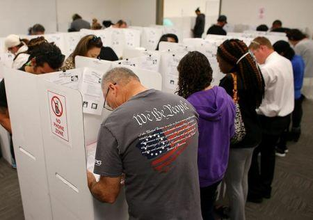 FILE PHOTO: A voter wears a shirt with words from the United States Constitution while casting his ballot early as long lines of voters vote at the San Diego County Elections Office in San Diego, California, U.S., November 7, 2016.   REUTERS/Mike Blake