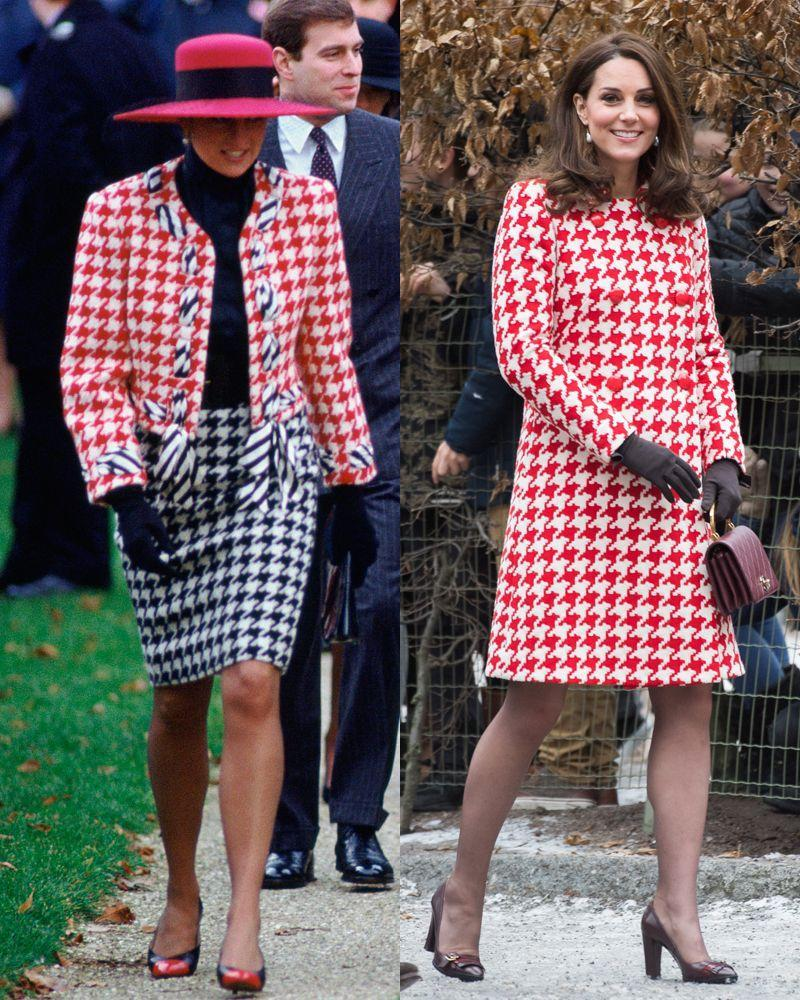 <p>Diana in a Moschino suit while attending Sunday service at Sandringham Church on December 23, 1990; Kate in a Catherine Walker houndstooth coat while on the second day of her Sweden visit on January 31, 2018.</p>