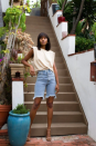 """<p><strong>Risk Twenty Two</strong></p><p>risktwentytwo.com</p><p><strong>$49.50</strong></p><p><a href=""""https://risktwentytwo.com/collections/pink-off-the-shoulder-dress/products/bermuda-shorts-denim"""" rel=""""nofollow noopener"""" target=""""_blank"""" data-ylk=""""slk:Shop Now"""" class=""""link rapid-noclick-resp"""">Shop Now</a></p><p>A muscle tank with statement shoulders paired with bermudas is great for those fall days when it's still a tad warm. If it gets chilly at night, simply throw on a leather jacket. </p>"""