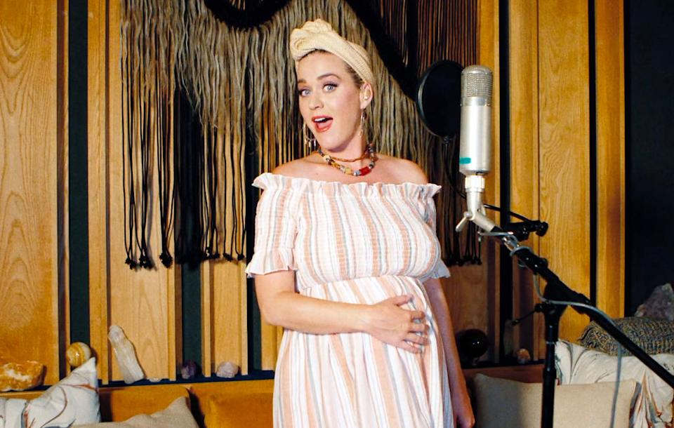 Katy Perry is just one of a whole plethora of celebrities who have found themselves pregnant or giving birth during a pandemic, pictured here in May 2020. (Getty Images)