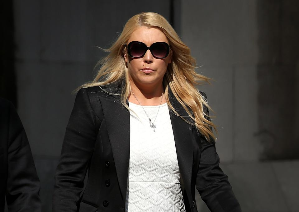 LONDON, ENGLAND - SEPTEMBER 12:  Australian DJ Mel Greig leaves The  Royal Courts of Justice on September 12, 2014 in London, England. An inquest into the death of Jacintha Saldanha, a nurse who worked at the Edward VII hospital when she took a prank call from Australian DJs, has ruled that she took her own life.  (Photo by Peter Macdiarmid/Getty Images)