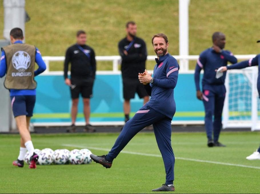 Gareth Southgate in England training (AFP via Getty Images)