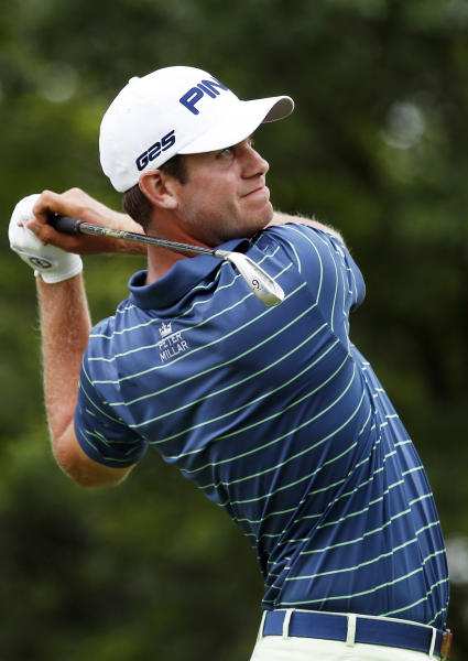 Early leader Harris English watches his drive on the ninth tee during the second round of the St. Jude Classic golf tournament Friday, June 7, 2013, in Memphis, Tenn. (AP Photo/Rogelio V. Solis)