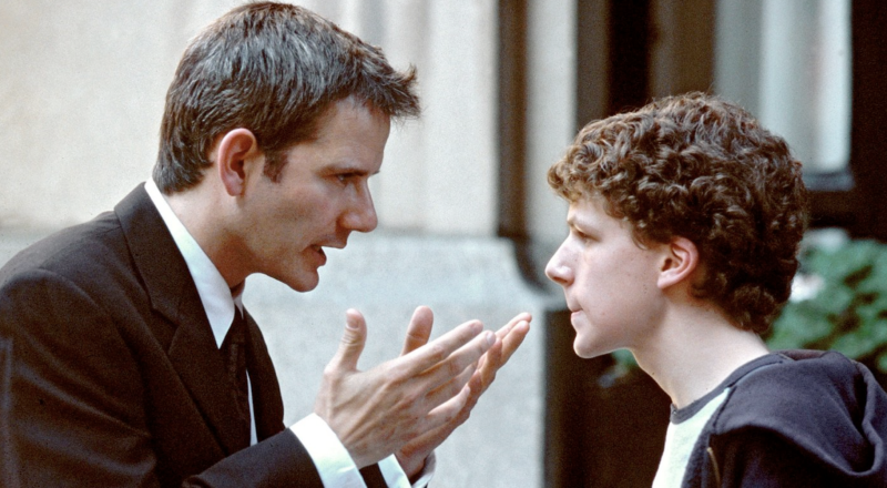 Campbell Scott and Jesse Eisenberg in Roger Dodger.