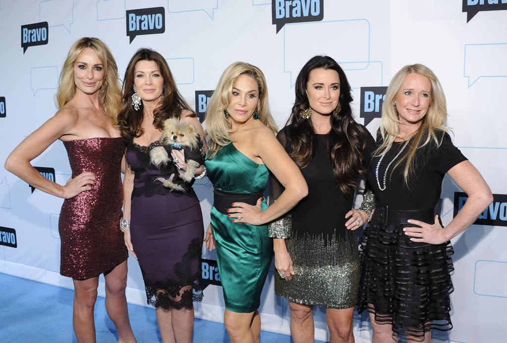 "Taylor Armstrong, Lisa Vanderpump, Adrienne Maloof, Kyle Richards, and Kim Richards of ""<a href=""http://tv.yahoo.com/real-housewives-of-beverly-hills/show/46137"">The Real Housewives of Beverly Hills</a>"" attend Bravo's 2012 Upfront Event at Center 548 on April 4, 2012 in New York City."