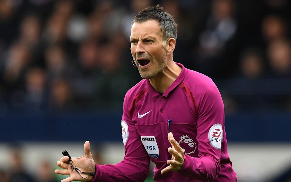 Referee, Mark Clattenburg reacts the Premier League match between West Bromwich Albion and Leicester City at The Hawthorns on April 29, 2017 in West Bromwich, England - GETTY IMAGES