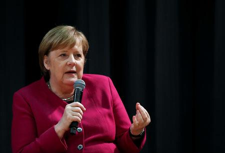 German Chancellor Angela Merkel visits the German School of Athens