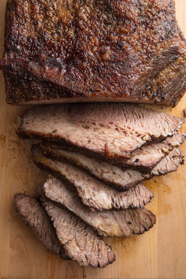 """<p>Brisket is one of the most recognizable Passover staples. It's unclear how that actually happened, but seeing as the holiday is a celebration of the Jews being freed from slavery in Egypt, it makes sense that a large hunk of meat would be a part of the feast, as it can feed a whole bunch of people. </p><p>Get the recipe from <a href=""""https://www.delish.com/cooking/recipe-ideas/a19473587/best-beef-brisket-recipe/"""" target=""""_blank"""">Delish</a>. </p>"""
