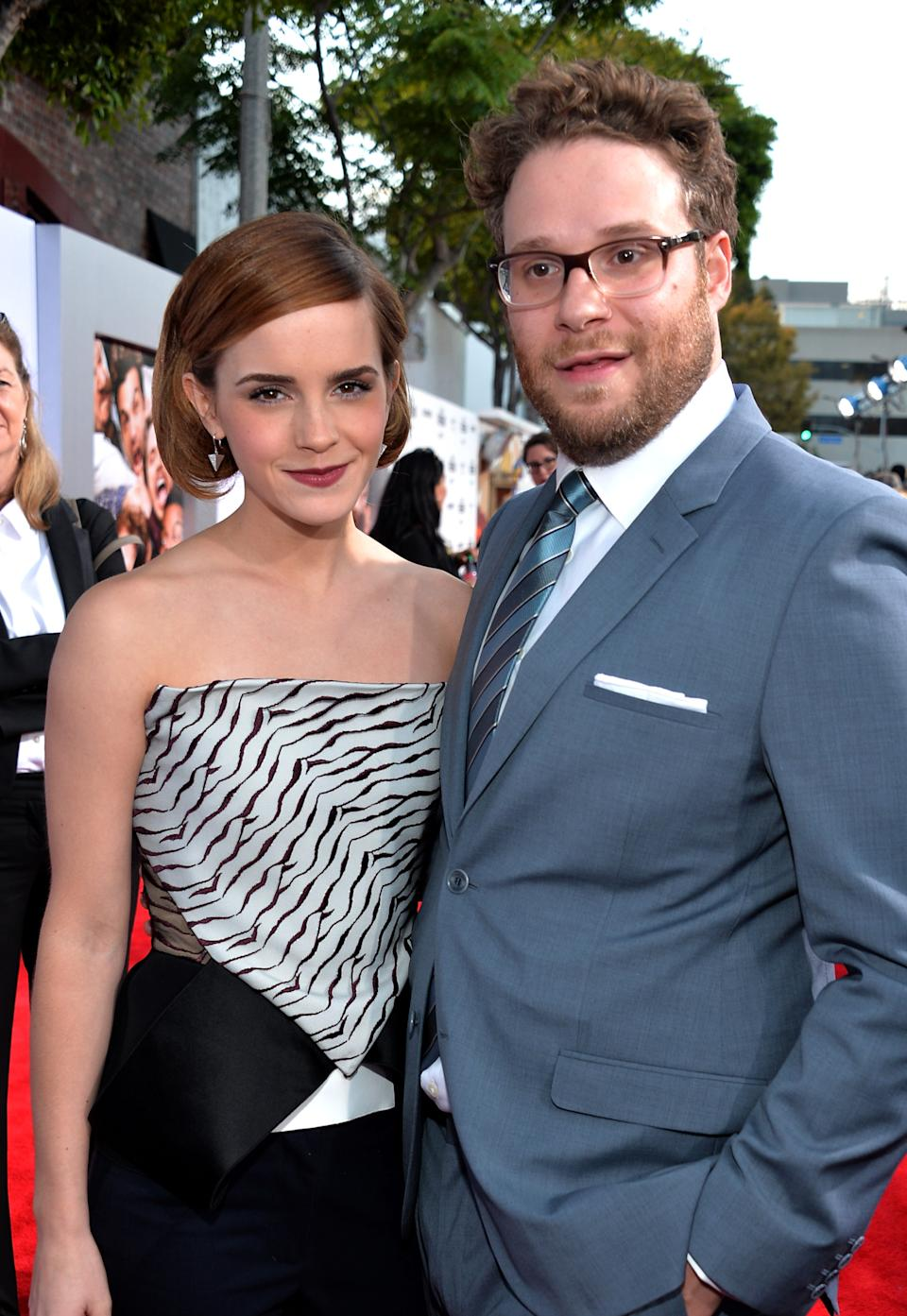 WESTWOOD, CA - JUNE 03:  Actress Emma Watson and writer/director/actor Seth Rogen attend Columbia Pictures'