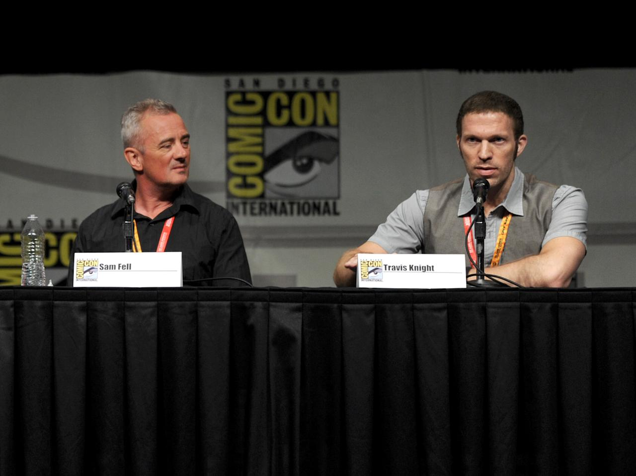 "SAN DIEGO, CA - JULY 13:  (L-R) Director Sam Fell and producer Travis Knight speak at the ""Paranorman: Behind The Scenes"" panel during Comic-Con International 2012 at San Diego Convention Center on July 13, 2012 in San Diego, California.  (Photo by Kevin Winter/Getty Images)"
