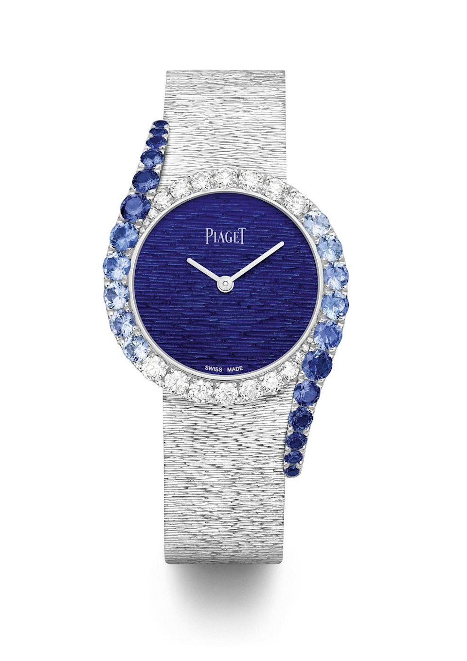 "<p><a class=""link rapid-noclick-resp"" href=""https://www.piaget.com/watches/limelight-gala/white-gold-diamond-sapphire-watch-g0a45163"" rel=""nofollow noopener"" target=""_blank"" data-ylk=""slk:SHOP NOW"">SHOP NOW</a></p><p>Piaget's exquisitely-crafted jewellery watches capture all the spirit and pizazz of the Swinging '60s and '70s, which is when the house first forayed into the world of bejewelled timepieces. </p><p>This newest model features a decadent white gold mesh bracelet, a white gold engraved dial covered with translucent blue enamel to evoke the shimmering Mediterranean Sea, plus a case set with 20 brilliant-cut diamonds and 22 sapphires. </p><p>Limelight Gala watch, price on request, <a href=""https://www.piaget.com/watches/limelight-gala/white-gold-diamond-sapphire-watch-g0a45163"" rel=""nofollow noopener"" target=""_blank"" data-ylk=""slk:Piaget"" class=""link rapid-noclick-resp"">Piaget</a></p>"