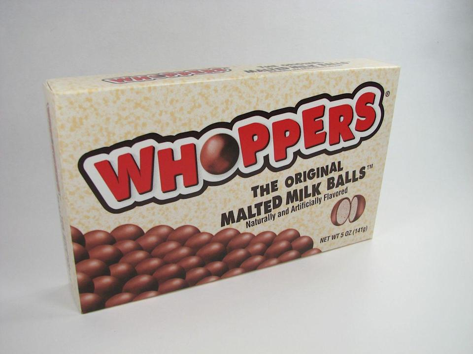 "<p>The chocolate-covered malted milk balls, created by Leaf Confectionary, were initially introduced 10 years earlier under the name ""Giants."" The fresh moniker ""Whoppers"" has stuck through many ownerships changes, ending with the current owner, Hershey.</p>"
