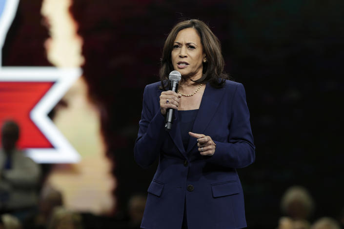 Democratic presidential candidate Sen. Kamala Harris speaks during the Iowa Democratic Party's Liberty and Justice Celebration, Friday, Nov. 1, 2019, in Des Moines, Iowa. (AP Photo/Nati Harnik)