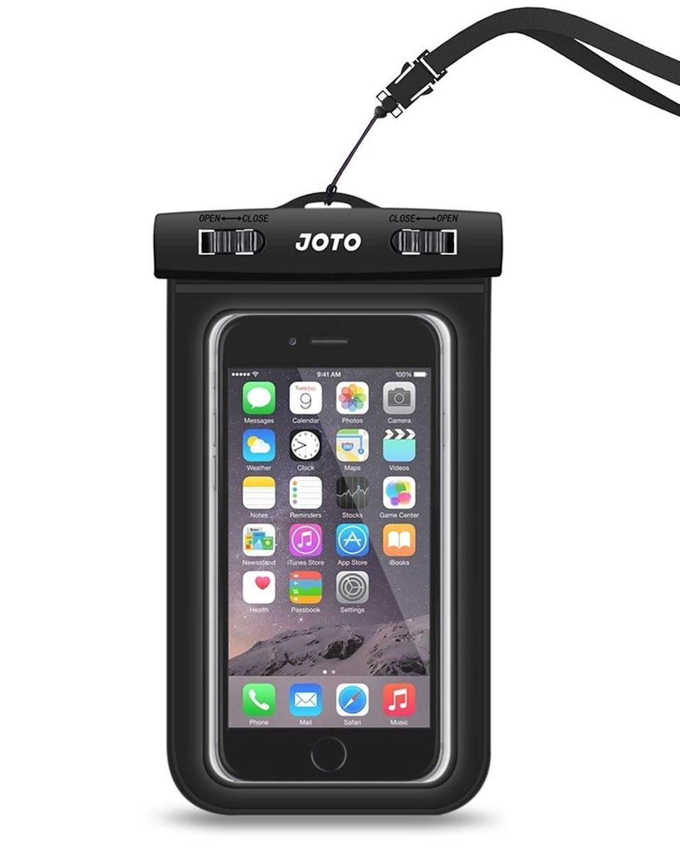 """<p>This <a href=""""https://www.popsugar.com/buy/Waterproof-Phone-Pouch-82472?p_name=Waterproof%20Phone%20Pouch&retailer=amazon.com&pid=82472&price=7&evar1=geek%3Aus&evar9=36141091&evar98=https%3A%2F%2Fwww.popsugar.com%2Fnews%2Fphoto-gallery%2F36141091%2Fimage%2F44337020%2FWaterproof-Phone-Pouch&list1=travel%2Camazon%2Cgadgets%2Choliday%2Cgeek%20gear%2Cgift%20guide%2Ctravel%20tips%2Camazon%20prime%2Cproducts%20under%20%24100%2Choliday%20living%2Ctech%20gifts%2Choliday%20tech%2Cgifts%20under%20%2450%2Cunder%20%24100&prop13=api&pdata=1"""" class=""""link rapid-noclick-resp"""" rel=""""nofollow noopener"""" target=""""_blank"""" data-ylk=""""slk:Waterproof Phone Pouch"""">Waterproof Phone Pouch</a> ($7) lets you take your phone, cash, and cards with you into the water without having to worry about theft.</p>"""