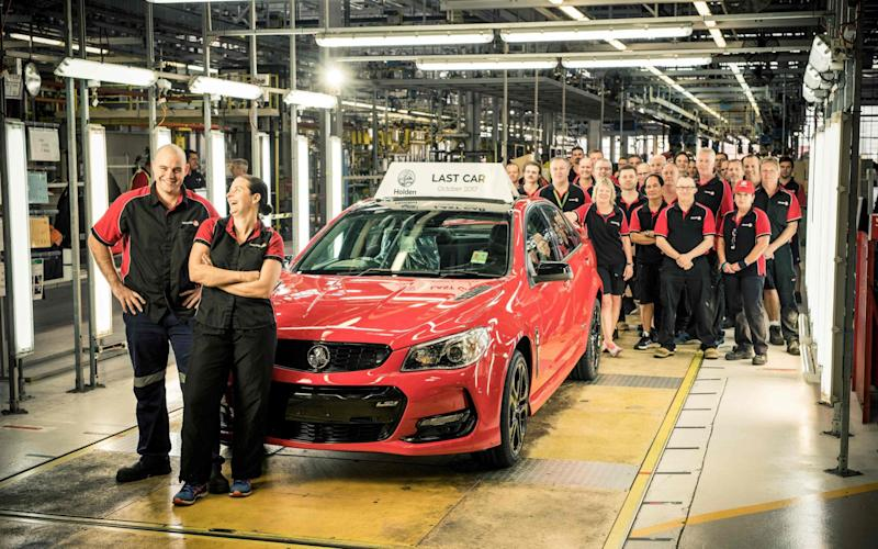 The final car to roll off the Holden production line at Elizabeth in Adelaide. - AFP