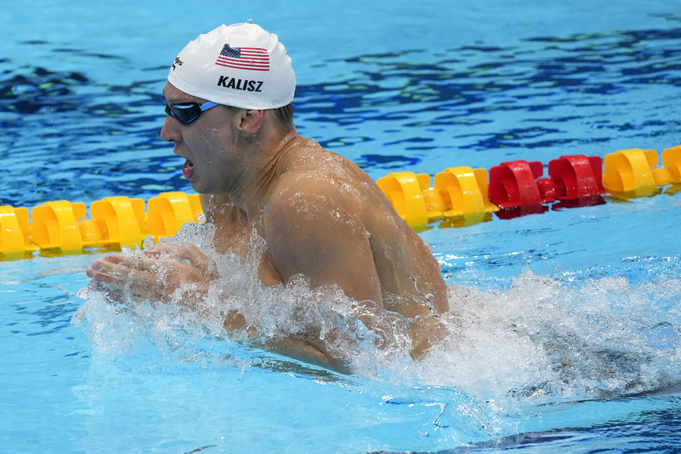 Chase Kalisz of the US swims in the Men's 400m Individual Medley at the 2020 Summer Olympics, Sunday, July 25, 2021, in Tokyo, Japan. (AP Photo/Charlie Riedle)