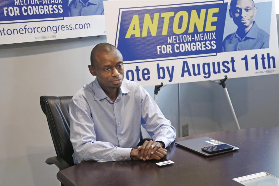 Fifth Congressional District candidate, Democrat Antone Melton-Meaux, answers questions during an interview in his Minneapolis office Wednesday, July 22, 2020. Melton-Meaux is giving Democrat Rep. Ilhan Omar an unexpectedly strong, well-funded primary challenge in one of the country's most heavily Democratic congressional districts, which includes Minneapolis and some suburbs. (AP Photo/Jim Mone)