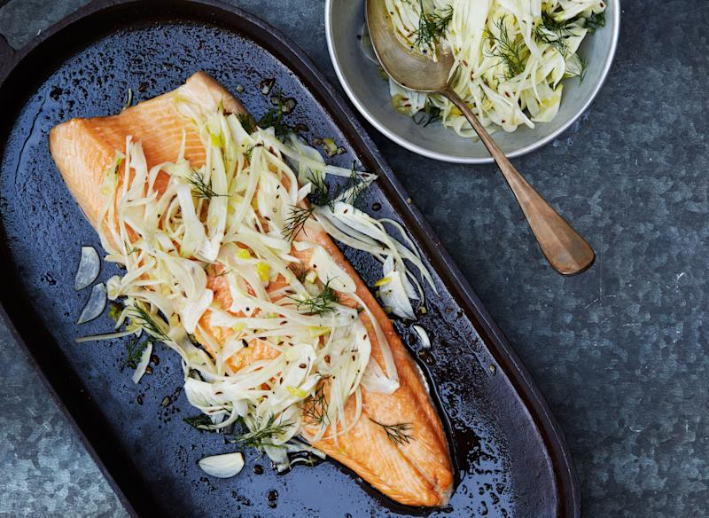 Slow-roasted arctic char with crunchy fennel salad is definitely on our to-cook list.