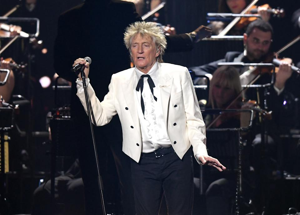 Rod Stewart performs during The BRIT Awards 2020 at The O2 Arena on February 18, 2020 in London, England. (Photo by Karwai Tang/WireImage)