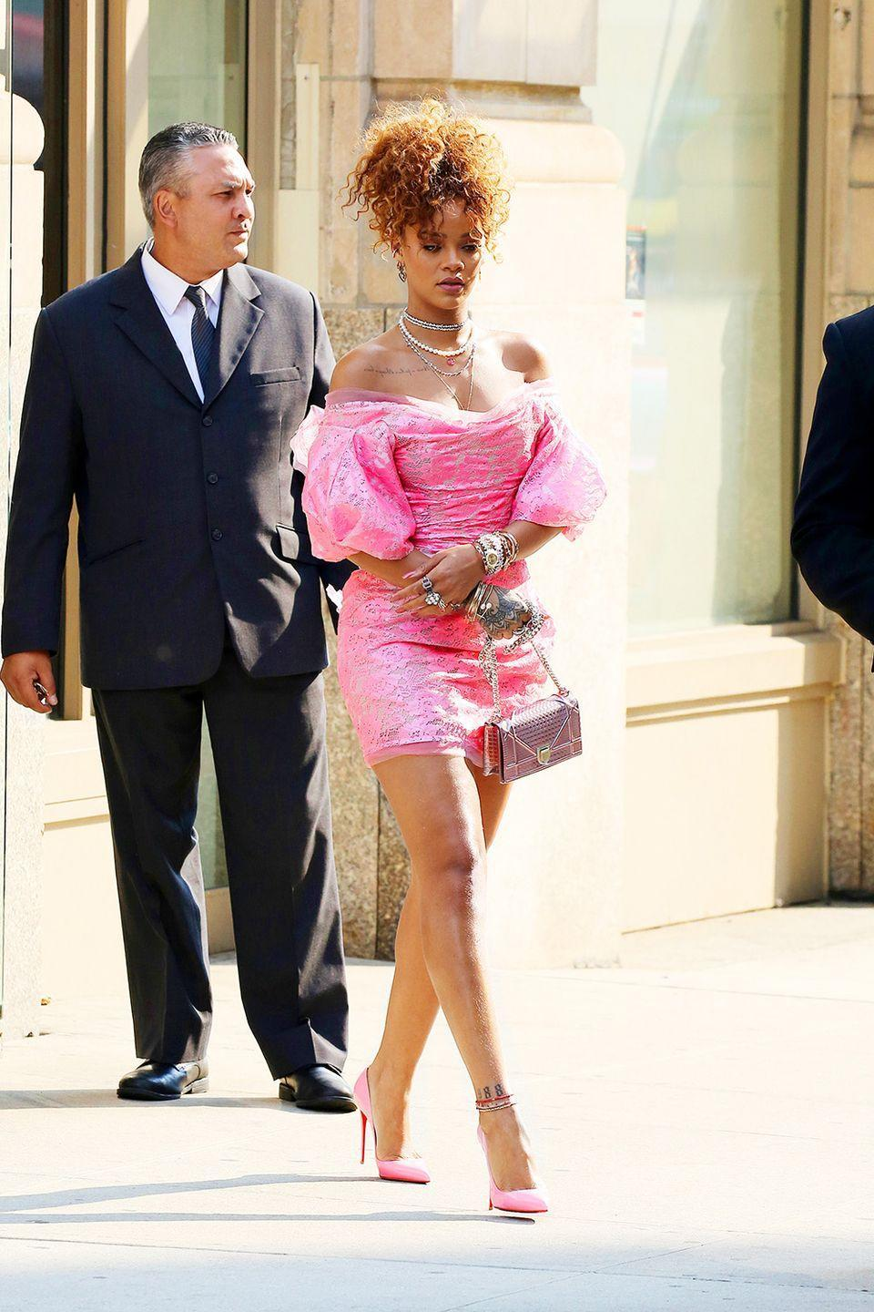 <p>In an '80s-inspired pink Vivienne Westwood number while promoting her fragrance, RiRi</p>