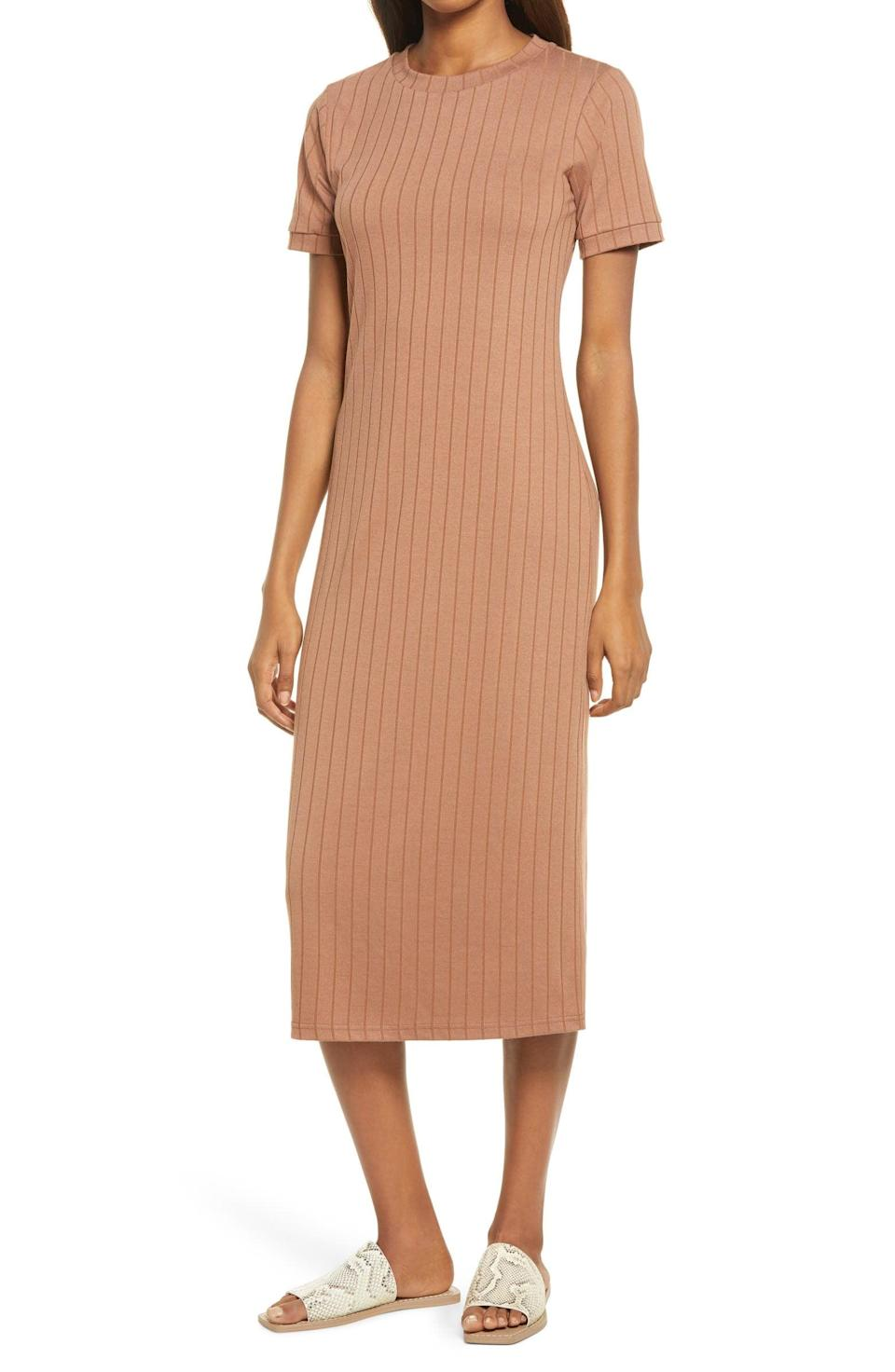 <p>Style this <span>Sancia The Romie Ribbed Midi T-Shirt Dress</span> ($65, originally $109) with your favorite slide sandals.</p>