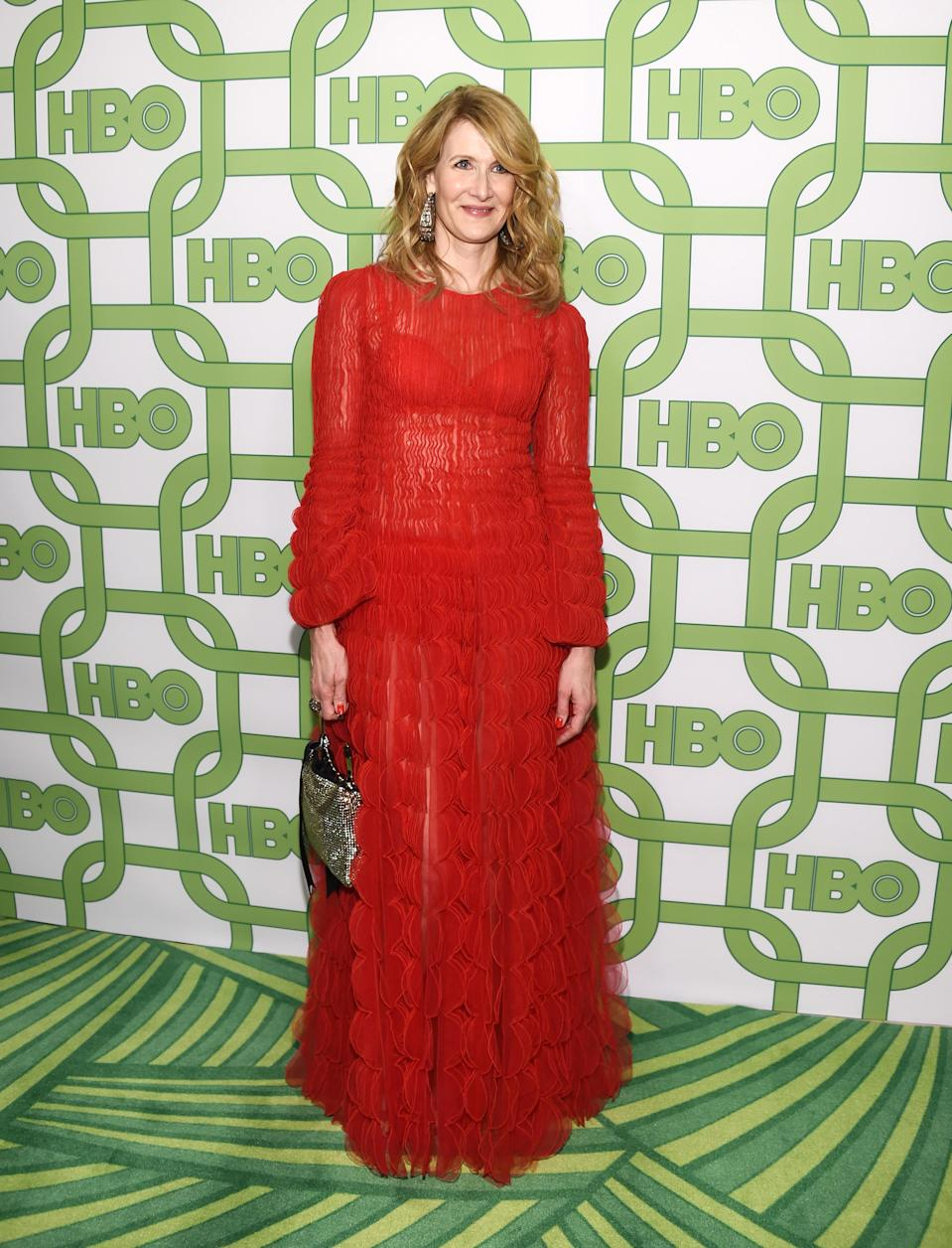 <p>Wearing Valentino dress accessorised with Alexandre Birman shoes and Lorraine Schwartz jewellery. <em>[Photo: Getty]</em> </p>