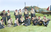 <p>Pilots of No. 310 (Czechoslovak) Squadron RAF and their British flight commanders are pictured at Duxford in 1940. (MediaDrumWorld) </p>