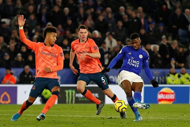 Nigerian striker Kelechi Iheanacho scored a late winner for Leicester against Everton in his first league outing of the season (AFP Photo/Adrian DENNIS)