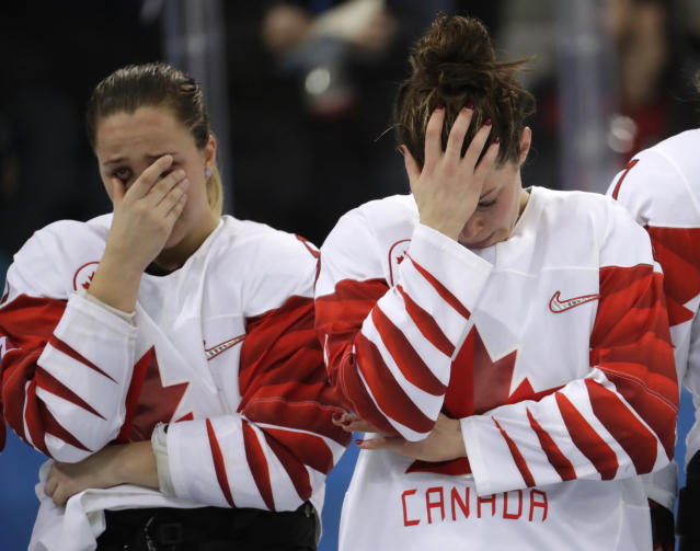 <p>Canada players react after the women's gold medal hockey game against the United States at the 2018 Winter Olympics in Gangneung, South Korea, Thursday, Feb. 22, 2018. (AP Photo/Julio Cortez) </p>
