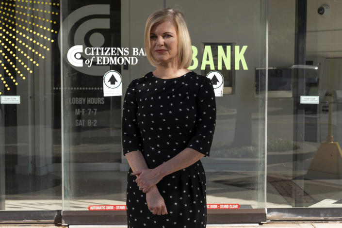 Jill Castilla, chief executive of the one-branch Citizens Bank of Edmond, outside the bank in Edmond, Okla., on Wednesday, Oct. 6, 2021. (Nick Oxford/The New York Times)