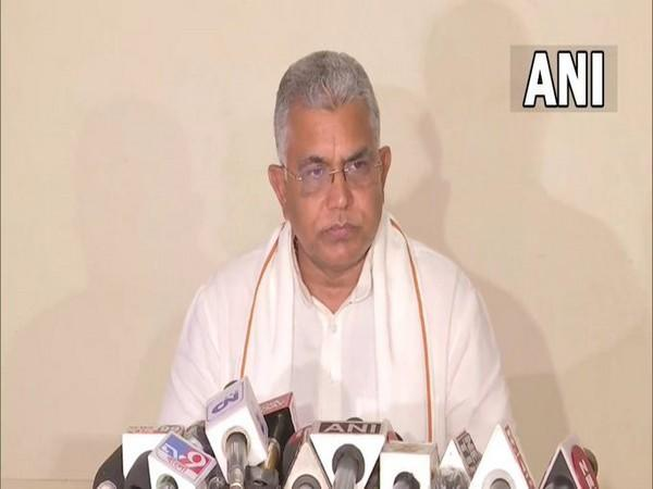 BJP national vice president Dilip Ghosh addressing a press conference in Kolkata on Monday. [Photo/ANI]