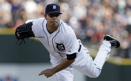 Detroit Tigers starting pitcher Jose Alvarez throws against the Boston Red Sox in the first inning in a baseball game in Detroit, Thursday, June 20, 2013. (AP Photo/Paul Sancya)