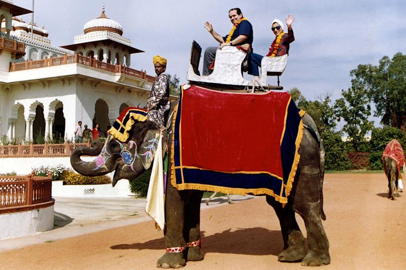 Supreme Court Justices Ruth Bader Ginsburg and Antonin Scalia ride an elephant in Rajasthan, India, in 1994 . Ginsburg died at her home in Washington on Sept. 18, the Supreme Court announced.