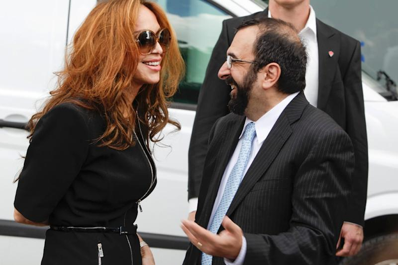 US anti-Islam activists Pamela Geller (L) and Robert Spencer chat ahead of an anti-Islam demonstration in Stockholm on August 4, 2012 (AFP Photo/Fredrik Persson)