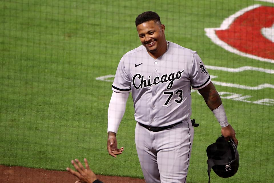 ANAHEIM, CALIFORNIA - APRIL 02: Yermin Mercedes #73 of the Chicago White Sox reacts after his RBI double against the Los Angeles Angels during the ninth inning at Angel Stadium of Anaheim on April 02, 2021 in Anaheim, California. (Photo by Katelyn Mulcahy/Getty Images)