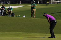 Tiger Woods reacts after missing a birdie putt on the second hole during the third round of the Masters golf tournament Saturday, Nov. 14, 2020, in Augusta, Ga. (AP Photo/Chris Carlson)