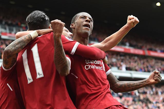 <p>Liverpool's midfielder Georginio Wijnaldum celebrates scoring his team's first goal during the English Premier League football match between Liverpool and Middlesbrough at Anfield in Liverpool, England, May 21, 2017. (Photo: Paul Ellis/AFP/Getty Images) </p>