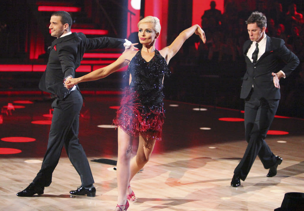 """Mark Ballas, Katherine Jenkins and Tristan MacManus perform on """"Dancing with the Stars."""""""