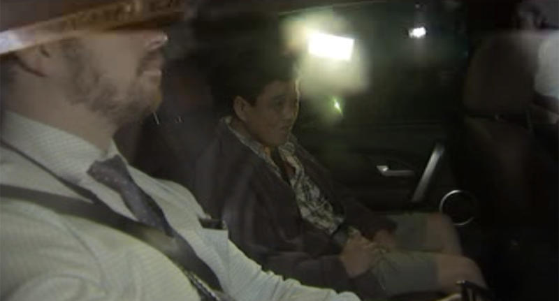 The accused arrives at the Brisbane watch house. Source 7NewsMore