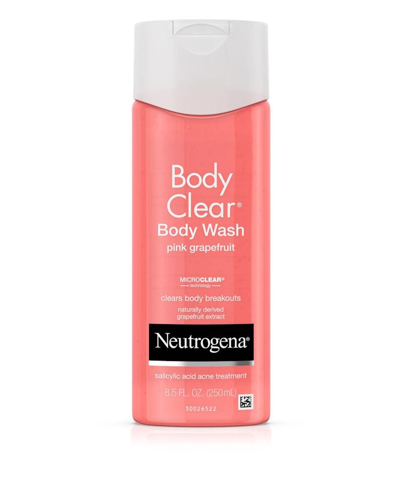 """<p><strong>Neutrogena</strong></p><p>ulta.com</p><p><strong>$8.49</strong></p><p><a href=""""https://go.redirectingat.com?id=74968X1596630&url=https%3A%2F%2Fwww.ulta.com%2Fpink-grapefruit-body-wash%3FproductId%3DxlsImpprod670022&sref=http%3A%2F%2Fwww.womenshealthmag.com%2Fbeauty%2Fg19913319%2Fhow-to-get-rid-of-bacne%2F"""" target=""""_blank"""">SHOP NOW</a></p><p>Ironically, getting clean can actually cause back acne breakouts. As you rinse your hair, the oils and nourishing ingredients from your shampoo and conditioner run down your back and can clog pores, says Dr. Sherber. </p><p>So wash and condition your hair, then reach for the body wash at the very end of your shower to emerge sans residue. Choose a version with skin-treating ingredients, like this was from Neutrogena. It's powered by <a href=""""https://www.womenshealthmag.com/beauty/a19409010/what-is-salicylic-acid/"""" target=""""_blank"""">salicylic acid</a>, a beta hydroxy acid that clears out pore-clogging sebum and dead skin cells. </p>"""