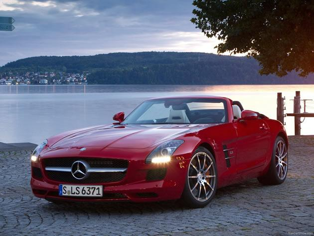 <strong>Mercedes-Benz SLS AMG Roadster: </strong>The signature gull-wing doors and roof have been replaced with conventional doors for the roadster version of the Mercedes-Benz SLS AMG. The SLS AMG Roadster will have an aluminium space frame, AMG 6.3-litre V8 front-mid engine with a peak power output of 563bhp, a seven-speed dual clutch transmission. The fabric soft top opens and closes in 11 seconds and can be operated up to speeds of 50 km/h. (Photo and text by Cheryl Tay)