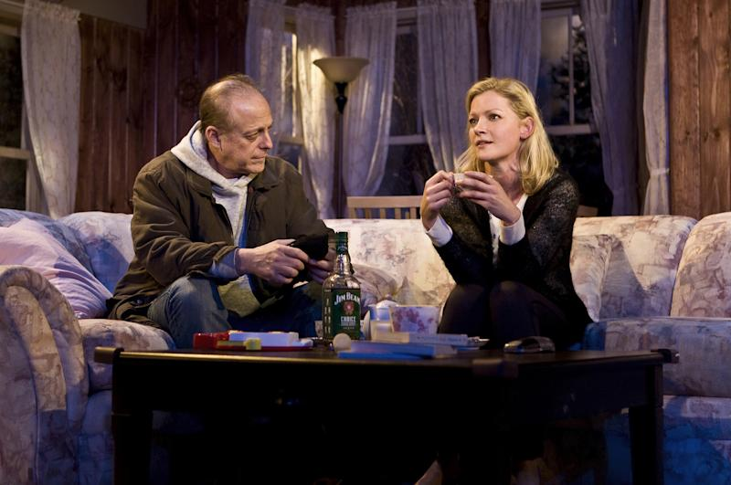 """This theater image released by Seven17 Public Relations shows Mark Blum, left, and Gretchen Mol, in a scene from Francine Volpe's """"The Good Mother"""", currently performing off-Broadway in a New Group production at Theatre Row in New York. (AP Photo/Seven17 PR, Monique Carboni)"""