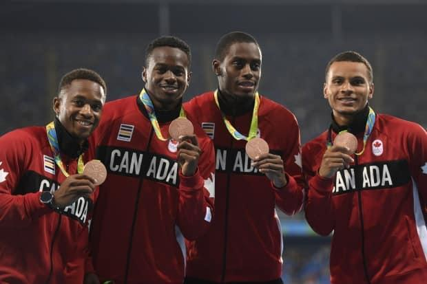 Brown, second from left, with Akeem Haynes, Brendon Rodney and Andre De Grasse after winning bronze in the 4x100 at the Rio Olympics in 2016.