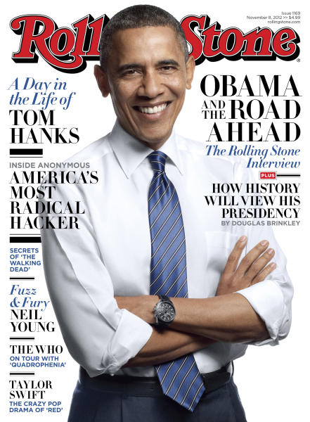 """This image released by Rolling Stone shows the cover of the magazine's Nov. 8, 2012 issue featuring President Barack Obama that hits newsstands on Friday, Oct. 26, 2012. In an interview with Rolling Stone, Obama, who once called bank executives """"fat cats"""" and their pay """"obscene,"""" says Wall Street needs to change executive pay incentives that reward risky bets that can yield fortunes but can also devastate financial institutions. (AP Photo/Rolling Stone)"""