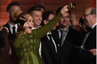 <p>Adele somehow managed to break her Best Album award approximately six seconds after receiving it.</p>
