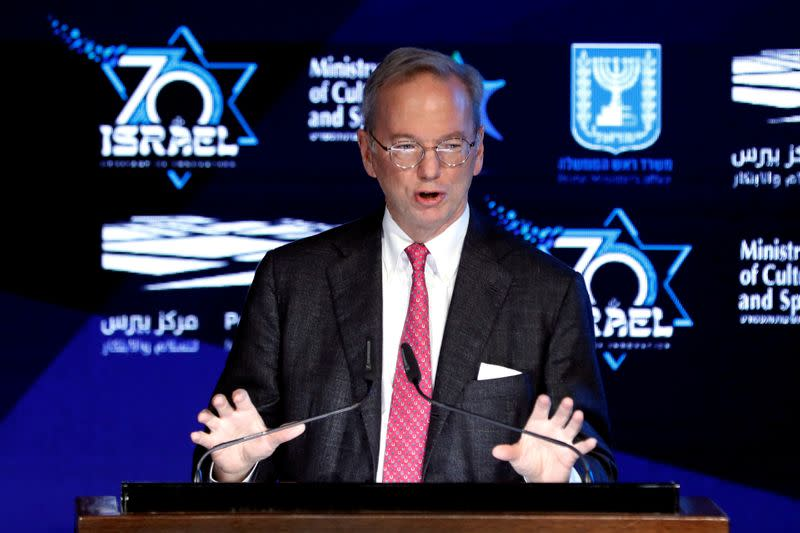 FILE PHOTO: FILE PHOTO: FILE PHOTO: FILE PHOTO: Former Google Chief Executive Eric Schmidt speaks during the opening event of The Prime Minister's Israeli Innovation Summit in Jerusalem