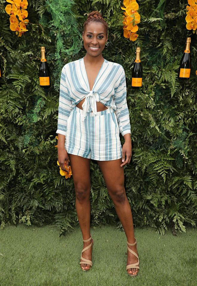 "<p><strong>Who:</strong> Issa Rae</p><p><strong>Affordable Fashion Find: LOFT</strong> romper, $80, <a rel=""nofollow"" href=""https://www.loft.com/loft-beach-striped-tie-cutout-romper/462417"">loft.com</a>.</p><p><a rel=""nofollow"" href=""https://www.loft.com/loft-beach-striped-tie-cutout-romper/462417"">SHOP</a><br></p><p><strong>Why We Love It: </strong>Just in time for spring break (or an early start to your summer wardrobe), Rae's cut-out striped romper makes for an effortless all-in-one look for warm weather. And at under $100, the Loft piece is a smart buy to wear all summer long. </p>"