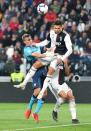 Juventus FC's Cristiano Ronaldo, top right, goes for the ball during a Serie A soccer match against Atalanta BC at the Allianz Stadium in Turin, Italy, Sunday, May 19, 2019. (Alessandro Di Marco/ANSA via AP)