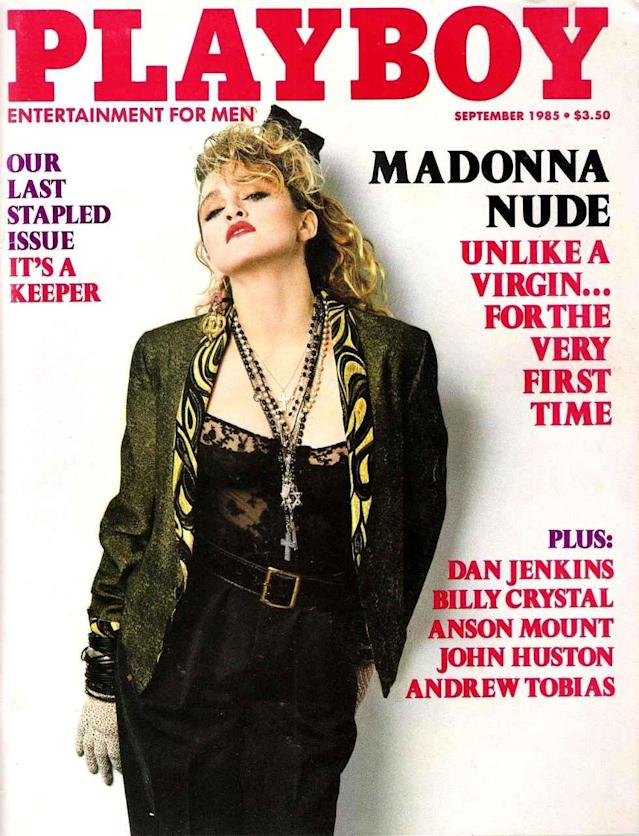 <p>Madonna is one of the only stars to appear fully clothed on the <em>Playboy</em> cover. However, the inside shoot featured nude photos taken of her in 1978, when she was a struggling singer. (Photo: Playboy) </p>