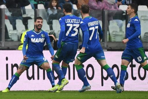 Francesco Caputo (L) scored a brace for Sassuolo